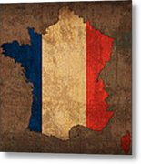 Map Of France With Flag Art On Distressed Worn Canvas Metal Print by Design Turnpike