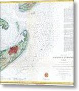 Map Of Galveston City And Harbor Texas Metal Print