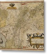 Map Of Gelderland And Cleves Metal Print