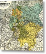 Map Of Germany 1861 Metal Print