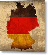 Map Of Germany With Flag Art On Distressed Worn Canvas Metal Print