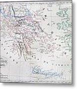 Map Of Greece Metal Print