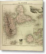 Map Of Guadeloupe St. Martin And St Metal Print