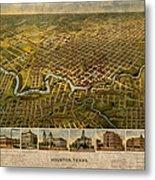 Map Of Houston Texas Circa 1891 On Worn Distressed Canvas Metal Print