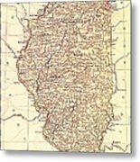 Map Of Illinois 1881 Metal Print