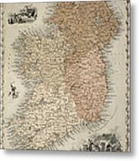 Map Of Ireland Metal Print by C Montague