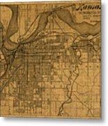 Map Of Kansas City Missouri Vintage Old Street Cartography On Worn Distressed Canvas Metal Print