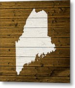 Map Of Maine State Outline White Distressed Paint On Reclaimed Wood Planks. Metal Print
