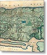Map Of Manhattan Metal Print