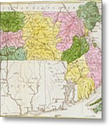 Map Of Massachusetts, From Historical Collections Of Massachusetts, By John Warren Barber, 1839 Metal Print