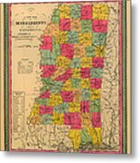Map Of Mississippi 1850 Metal Print