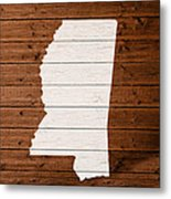 Map Of Mississippi State Outline White Distressed Paint On Reclaimed Wood Planks. Metal Print