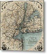 Map Of New York 1891 Metal Print