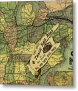 Map Of New York Central And Hudson River Railroad Routes 1876 Metal Print