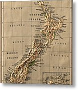 Map Of New Zealand 1880 Metal Print