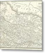 Map Of North India Nepal And Allahabad Metal Print