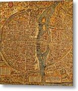 Map Of Paris France Circa 1550 On Worn Canvas Metal Print