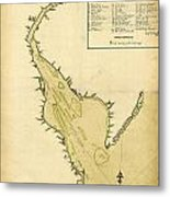 Map Of Philadelphia And The Delaware River 1780s Metal Print