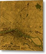Map Of Portland Oregon City Street Schematic Cartography Circa 1924 On Worn Parchment  Metal Print