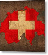 Map Of Switzerland With Flag Art On Distressed Worn Canvas Metal Print by Design Turnpike