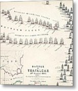Map Of The Battle Of Trafalgar Metal Print by Alexander Keith Johnson