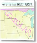 Map Of The Dapl Project Reroute Metal Print