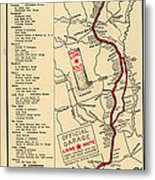 Map Of The Lone Star Route 1922 Metal Print
