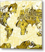 Map Of The World Collage  Metal Print