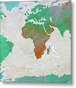 Map Of The World - Colors Of Earth And Water Metal Print