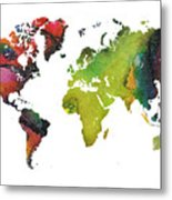 Map Of The World Red Green Metal Print