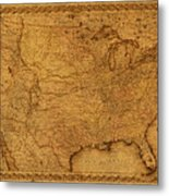 Map Of United States Of America Vintage Schematic Cartography Circa 1855 On Worn Parchment  Metal Print