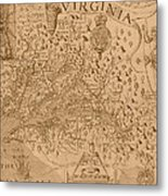 Map Of Virginia 1698 Metal Print