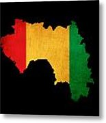 Map Outline Of Guinea With Flag Grunge Paper Effect Metal Print