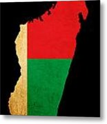 Map Outline Of Madagascar With Flag Grunge Paper Effect Metal Print