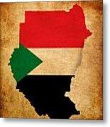 Map Outline Of Sudan With Flag Grunge Paper Effect Metal Print