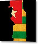 Map Outline Of Togo With Flag Grunge Paper Effect Metal Print