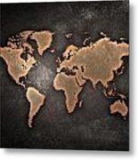 Map  The Continents  Grunge Metal Print
