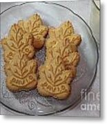 Maple Leaf Cookies And Milk - Food Art - Kitchen Metal Print