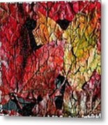 Maple Leaves Cracked Square Metal Print