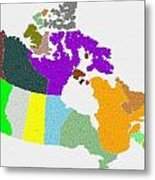 Maple Leaves Map Of Canada Metal Print