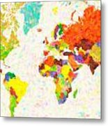maps pointilism World Map with leaves Metal Print