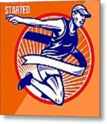 Marathon Finish What You Started Retro Poster Metal Print by Aloysius Patrimonio
