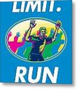 Marathon Runner Push Limits Poster Metal Print