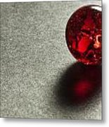 Marble Red Crackle 1 Metal Print