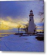 Marblehead Lighthouse Winter Sunrise Metal Print