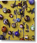 Marbles On Yellow Wooden Table Metal Print