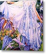 March Bride With Boxing Hares  Metal Print by Trudi Doyle