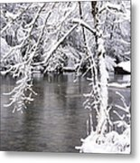 March Snow On The River Metal Print