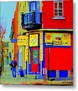 Marche Unique Cafe Sandwich Depanneur Rue St. Jacques St. Henri  Street Scenes Carole Spandau Metal Print