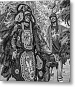 Mardi Gras Indian Monochrome Metal Print